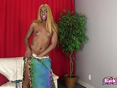 Sexy Erotica is a hot black tgirl with a juicy body, nice tits, a great ass and a sexy big hard cock! Watch this horny transgirl shaking her ass and stroking her hard cock!