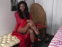 Black Lucious Strokes Her Big Cock!